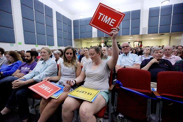 Timekeepers kept the debate on track.