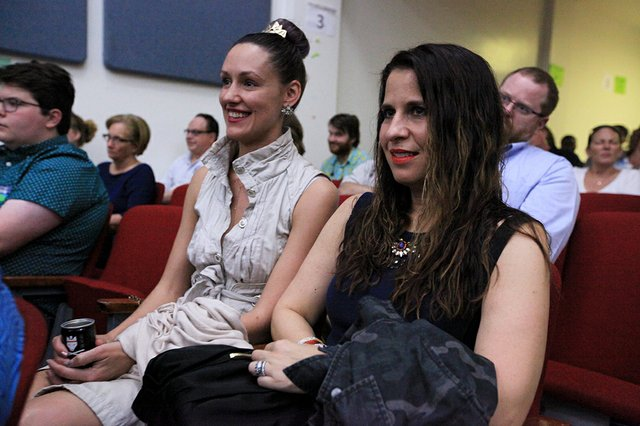 Audience members at mayoral debate.