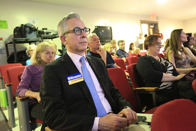 Councilman Paul Smedberg at Wednesday night's mayoral debate