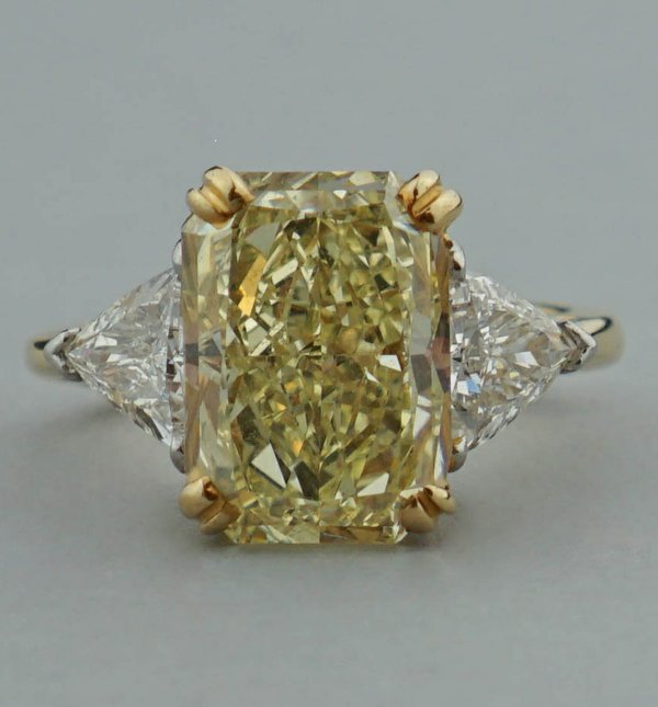 5.78-carat radiant-cut natural fancy light yellow diamond