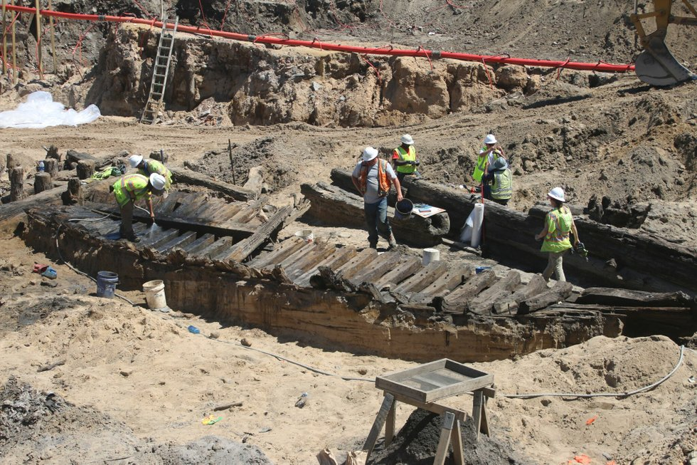Ship excavated at building site in Alexandria.