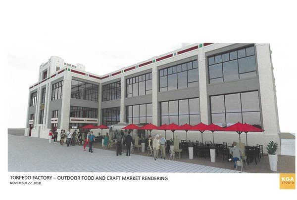 Rendering of Torpedo Factory area food and crafts market