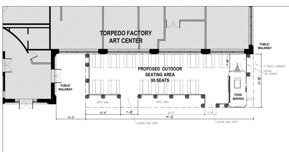 Map of proposed market area outside Torpedo Factory