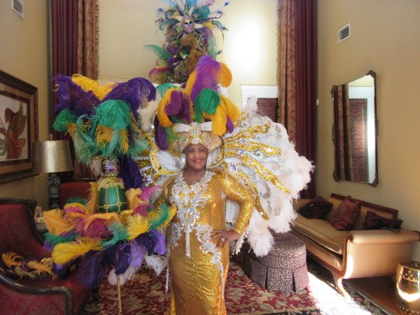 Patricia Richardson, train seamstress, ready for Mardi Gras dressed in her creations.