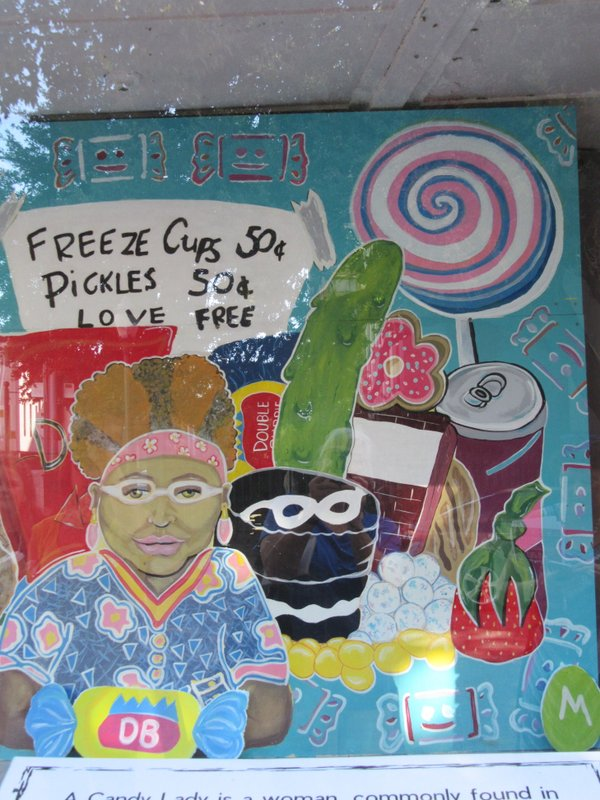 A painting of the Candy Lady, by teenagers in detention.