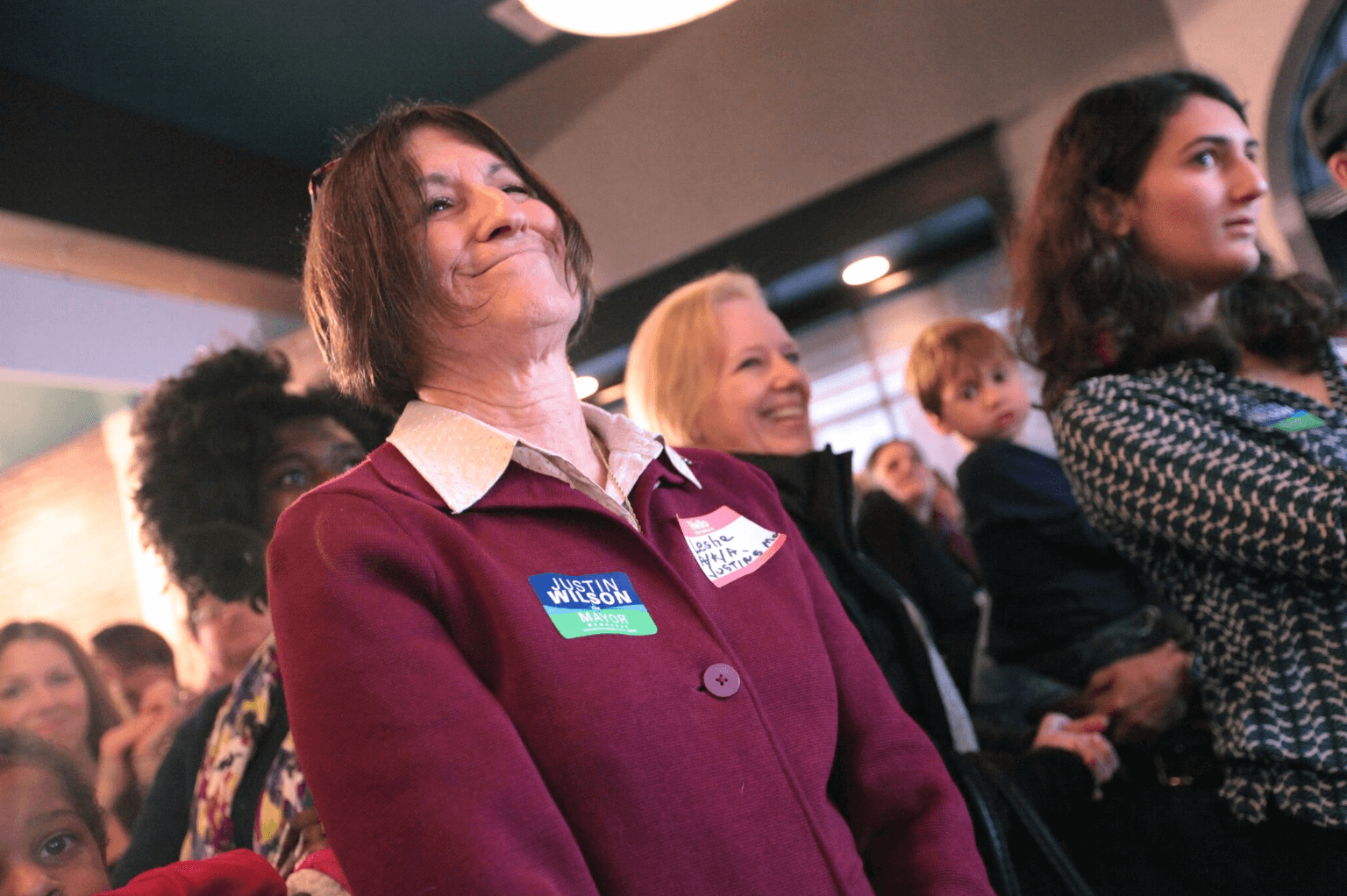 Justin Wilson's mother looks on at campaign kickoff.