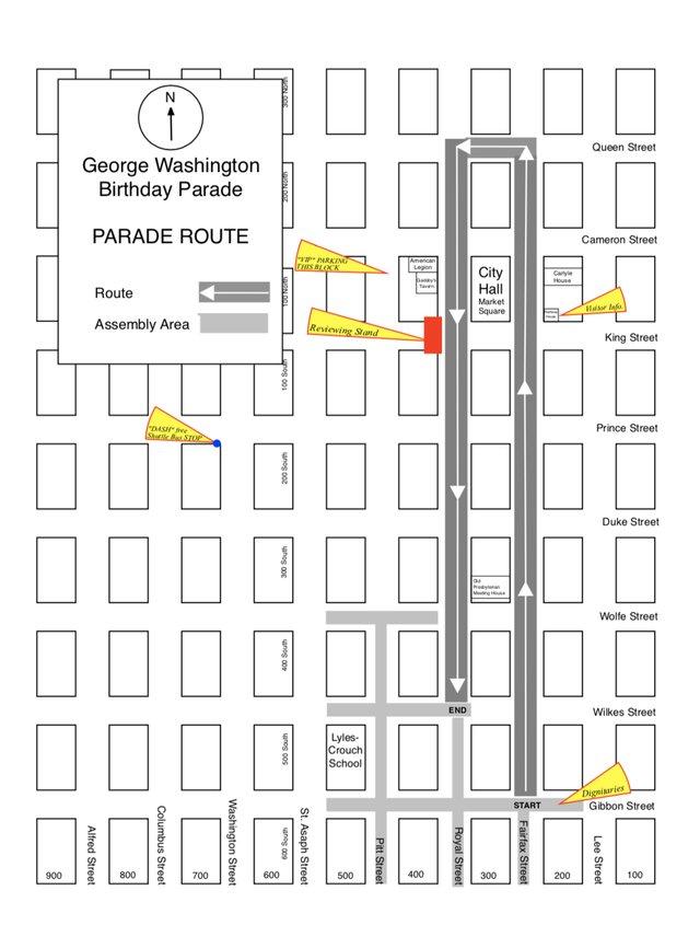 George Washington Birthday Parade Map