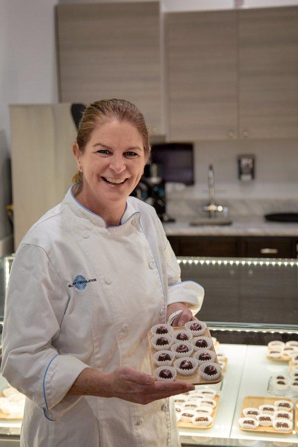 Kim Gustafson, owner of Bluprint Chocolatiers in Old Town Alexandria