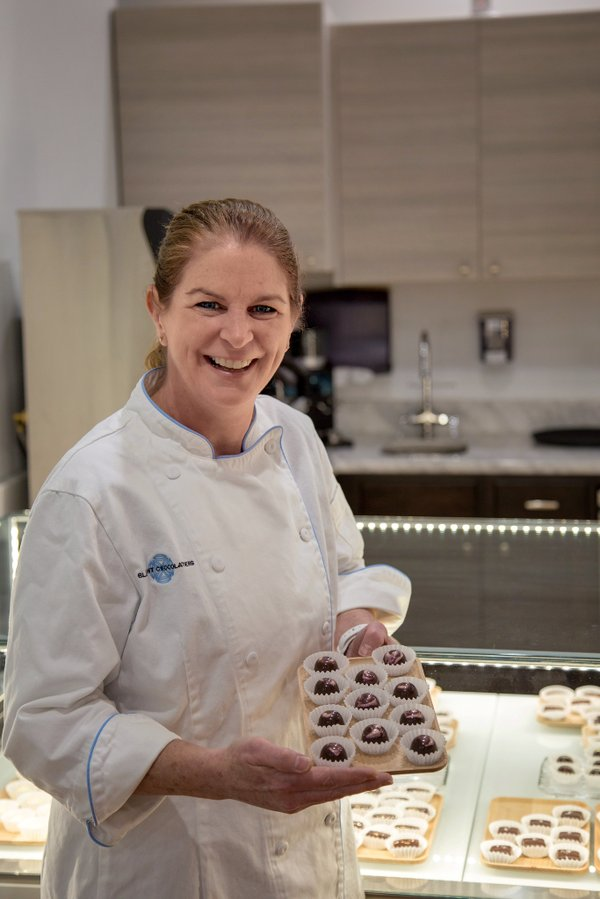 Kim Gustafson, owner of Bluprint Chocolatiers in Old Town Alexandria